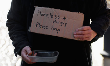 Homeless and hungry image via guardian.co.uk